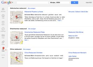 Google+ Local - Auflistung der empfohlenen Orte in der Umgebung