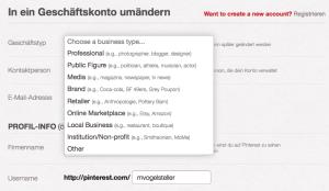 Pinterest Business Page anlegen
