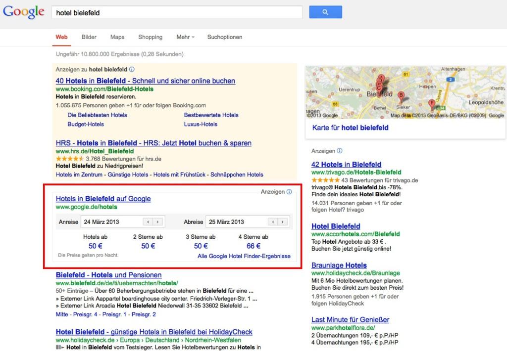 Google Hotel Finder in deutsche Suchergebnisse integriert