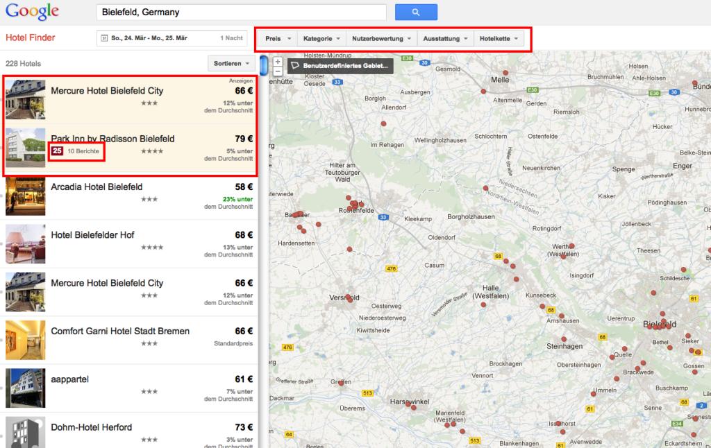 Google Hotel Finder - Übersicht