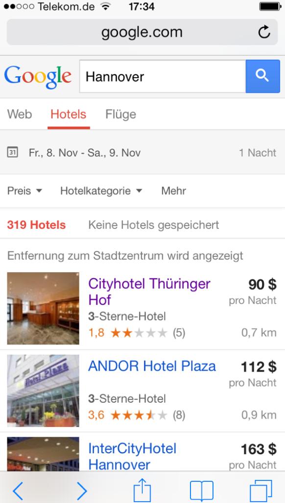 Google Hotelfinder auf Smartphone