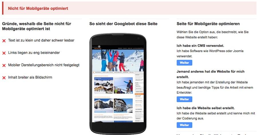 Google-Test auf Optimierung für Mobilgeräte